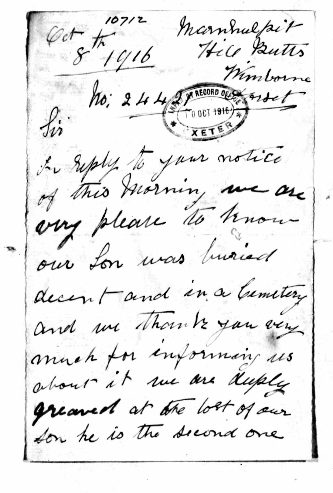 Letter from Bessie Angell to the War Office