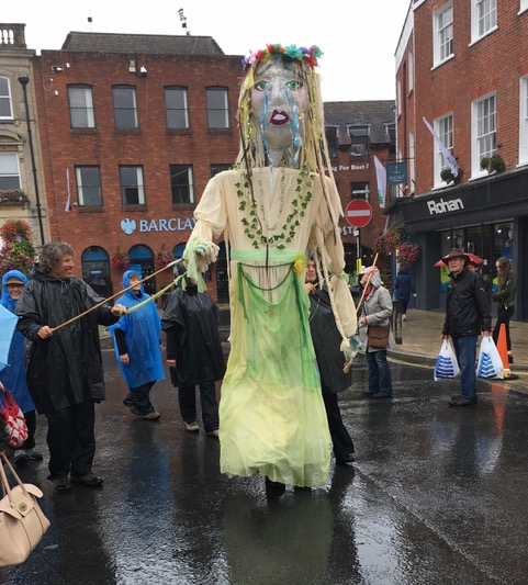 WCT's Giant Puppet at Wimborne War on Waste Street Party